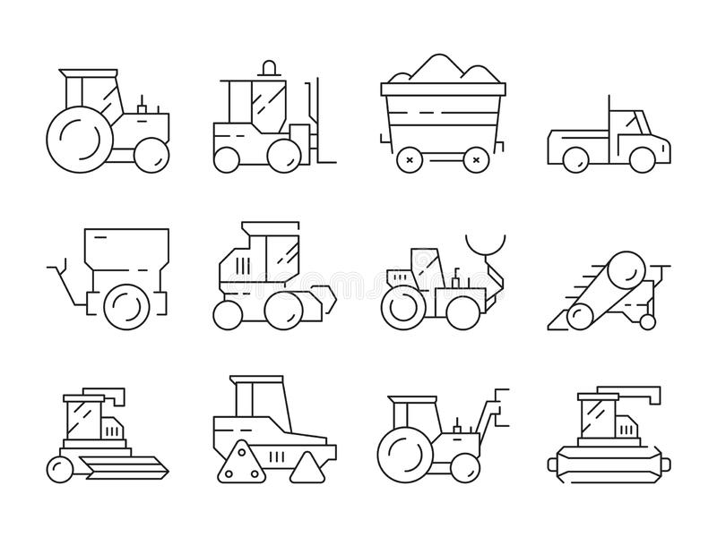 Farm transport. Agricultural heavy machines bulldozer harvester tractor vector linear symbols isolated royalty free illustration