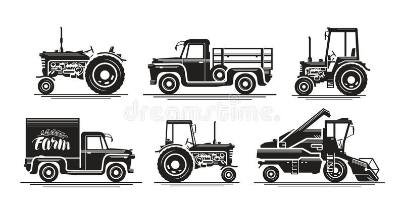 Farm transport, set icons. Agricultural tractor, truck, lorry, harvester, combine, pickup, car symbol. Silhouette vector vector illustration