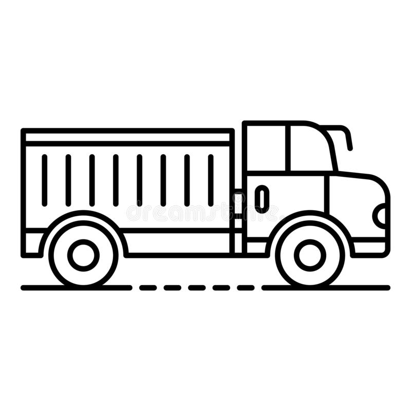 Farm truck icon, outline style. Farm truck icon. Outline farm truck vector icon for web design isolated on white background vector illustration