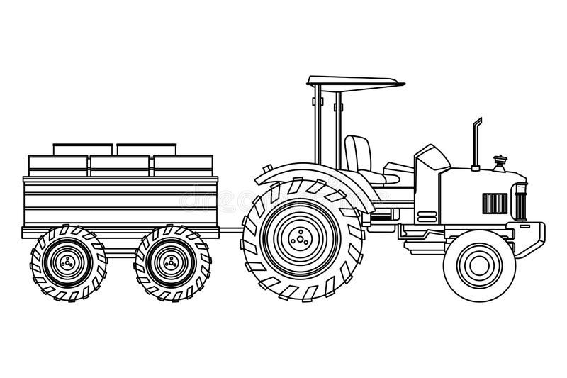 Farm truck tractor and trailer black and white. Farm truck tractor and trailer icon cartoon black and white vector illustration graphic design royalty free illustration