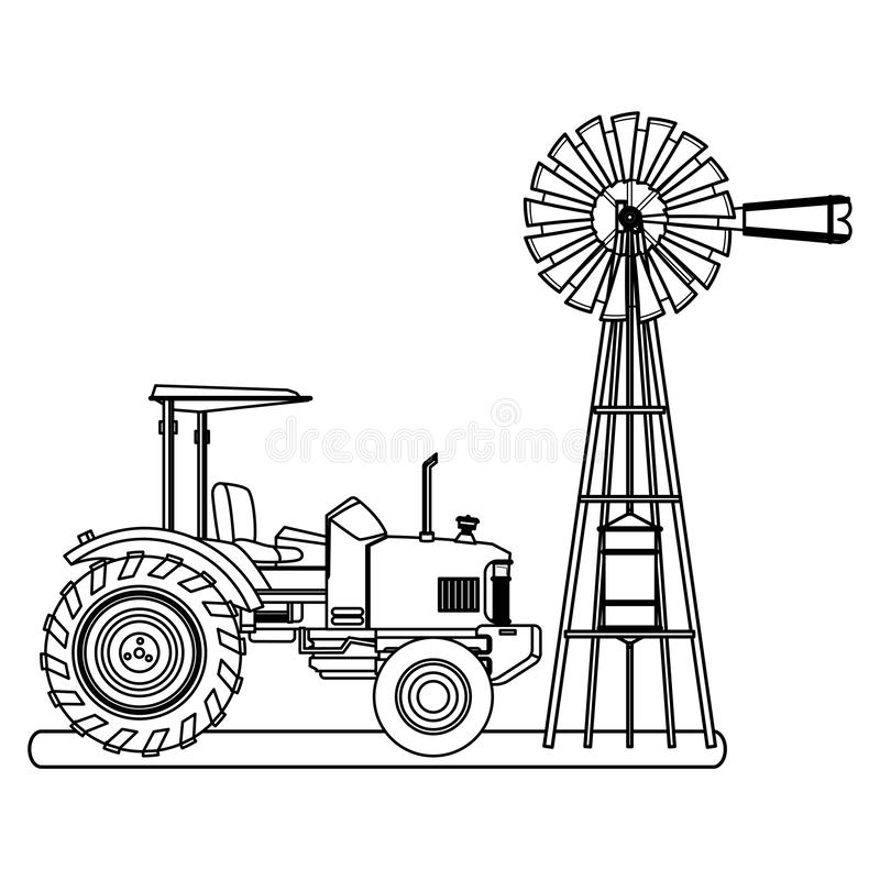 Farm truck tractor and wind turbine black and white. Farm truck tractor and wind turbine icon cartoon black and white vector illustration graphic design royalty free illustration