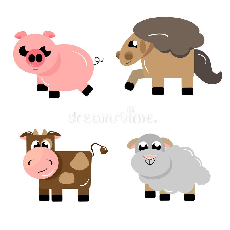Farm Ungulate animals icons royalty free illustration