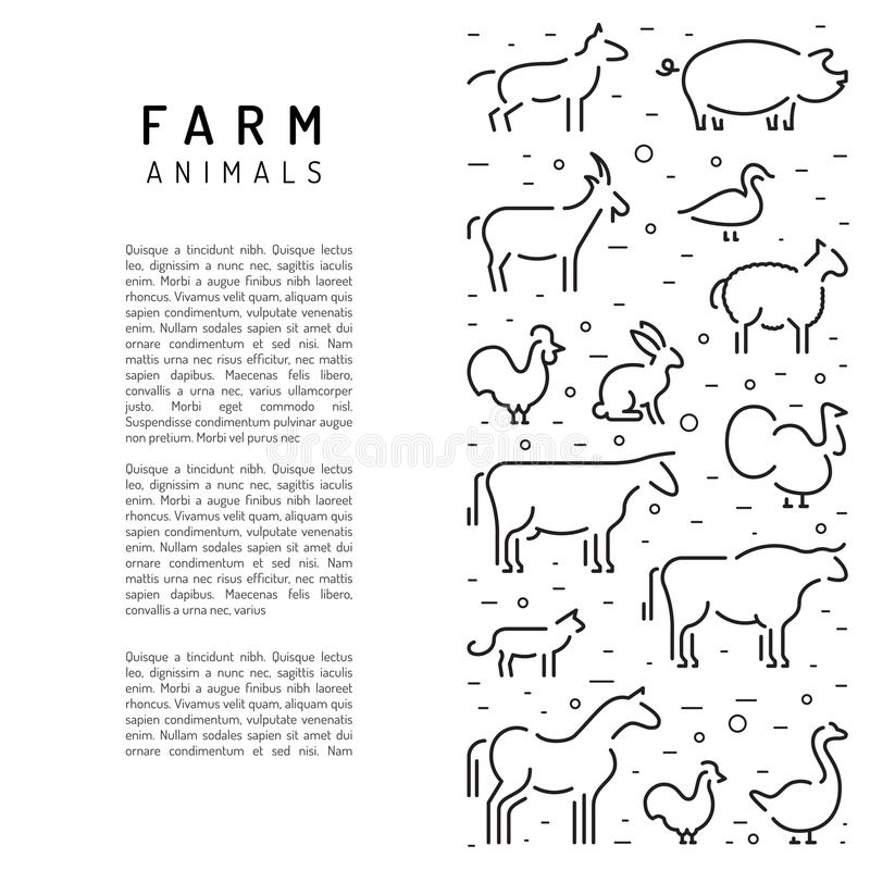 Farm vector animals silhouettes outline vector illustration