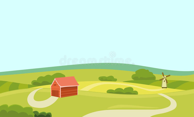 Farm Vector Flat Illustration. Field and House. Agriculture and Fresh Natural Food Concept. Countryside Landscape stock illustration