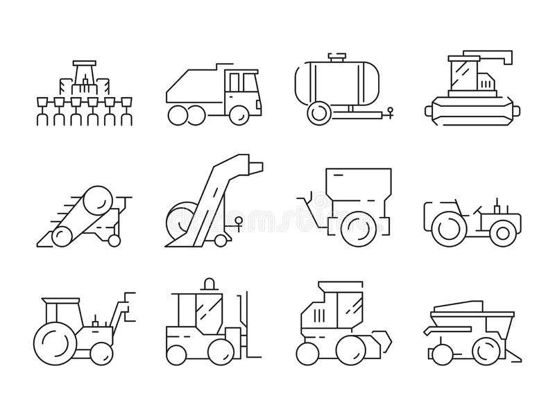 Farm vehicles. Tractor harvester buldozer village heavy machinery construction agriculture vector icons vector illustration