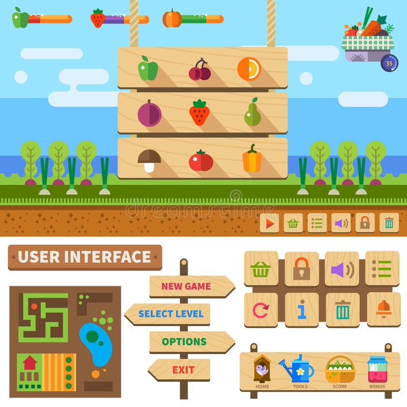 Farm in the village game. Farm in the village. Wooden User Interface for game vector illustration