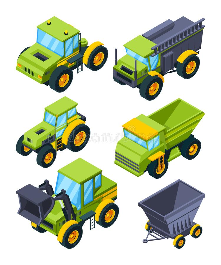 Farm or village various transport. Isometric pictures set of agriculture machines vector illustration