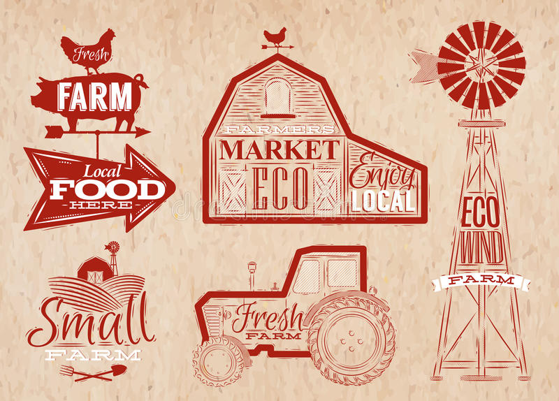 Download Farm Vintage Red Stock Vector Illustration Of Icon Market