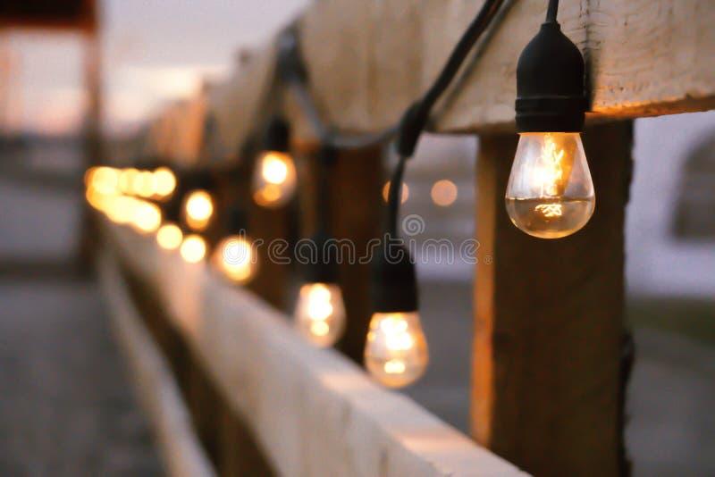 Farm wedding lights stock photo