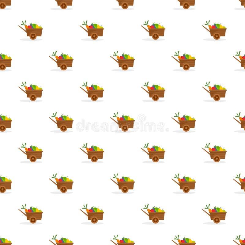 Farm wheelbarrow fruits, vegetables pattern seamless vector royalty free illustration