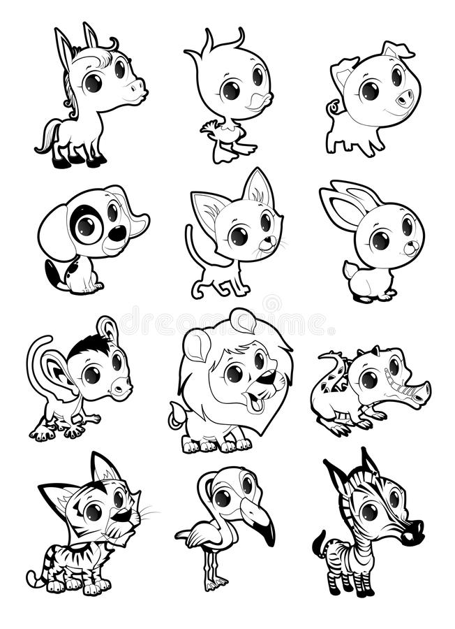 Farm and wild animals in black and white royalty free illustration