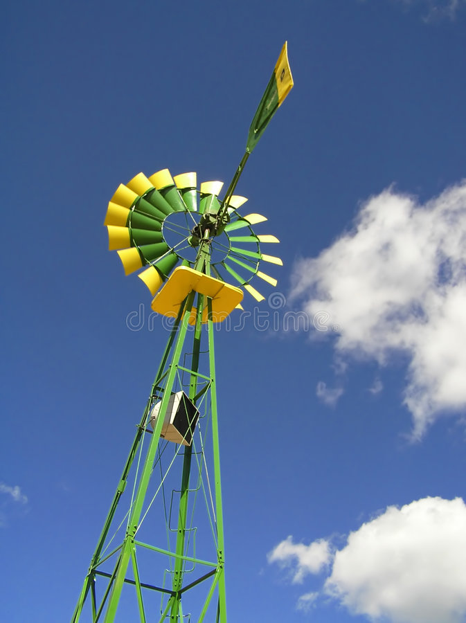Farm wind mill stock photo