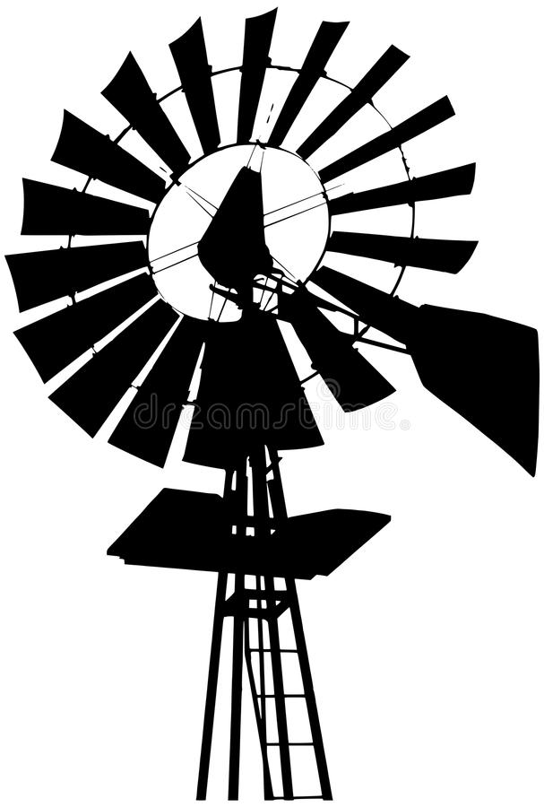 Line Drawing Windmill : Farm windmill silhouette stock vector illustration of