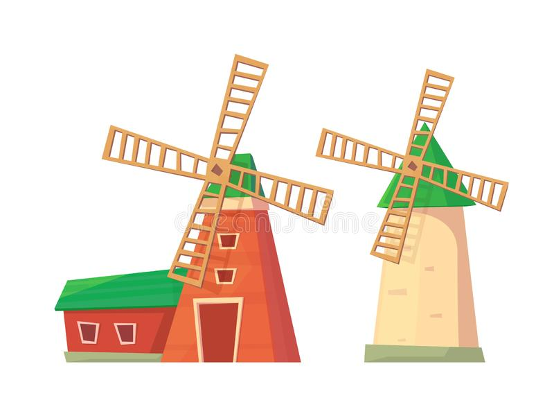 Farm windmill wish barn isolated on white. vector illustration