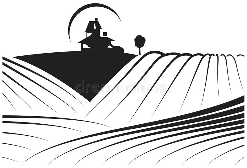 Farm or winery fields. stock vector. Illustration of ranch ...