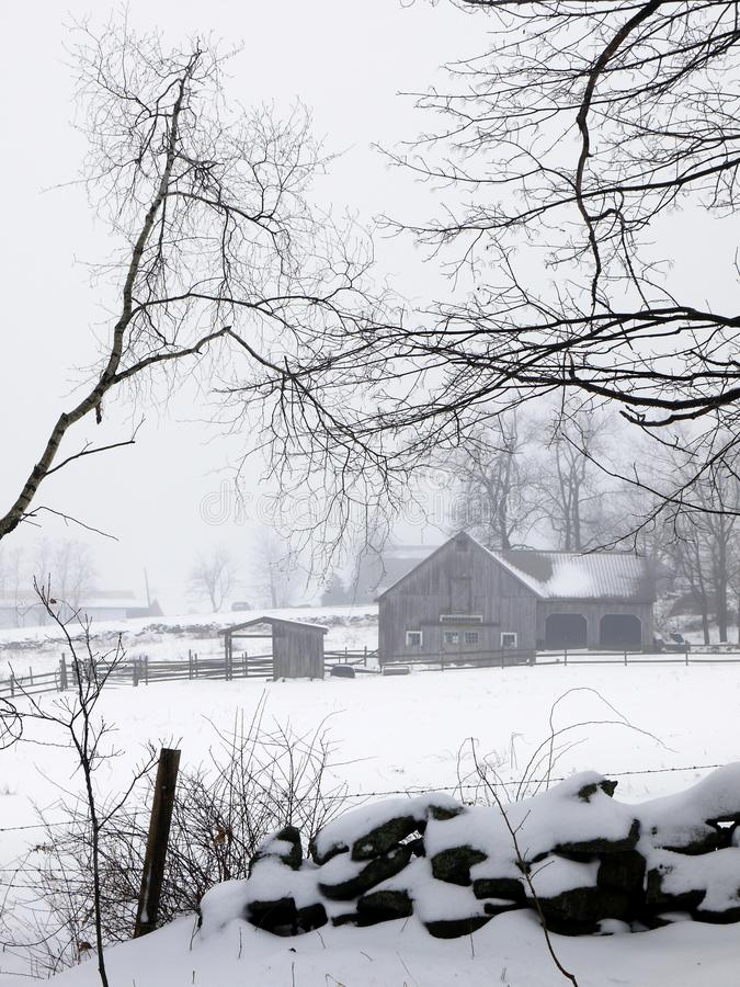 Free Farm: Winter Barn Fog And Snow - V Stock Photography - 23726442