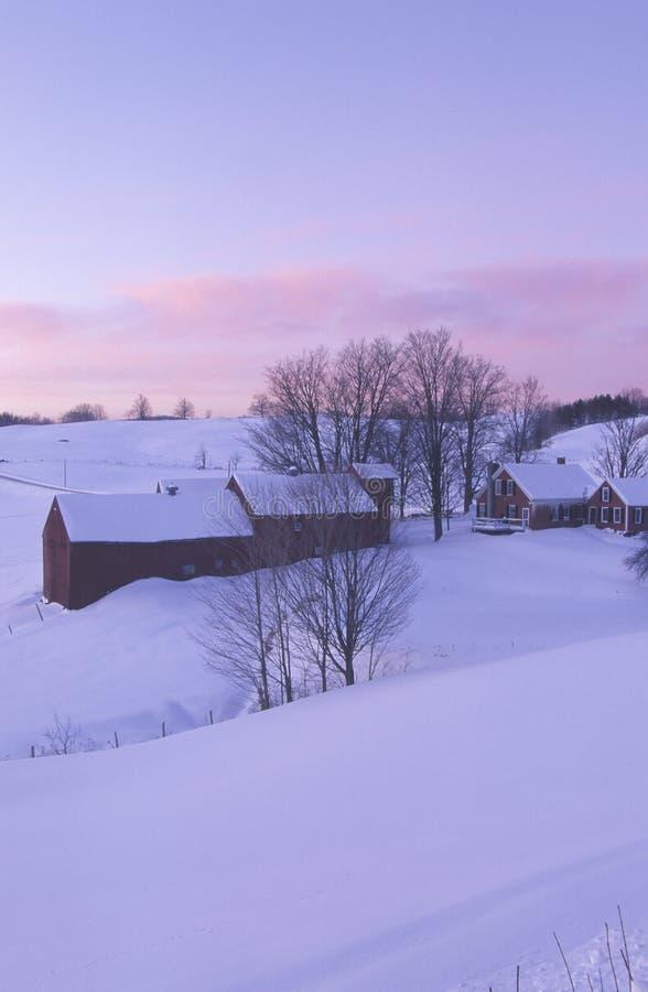 Farm with winter snow