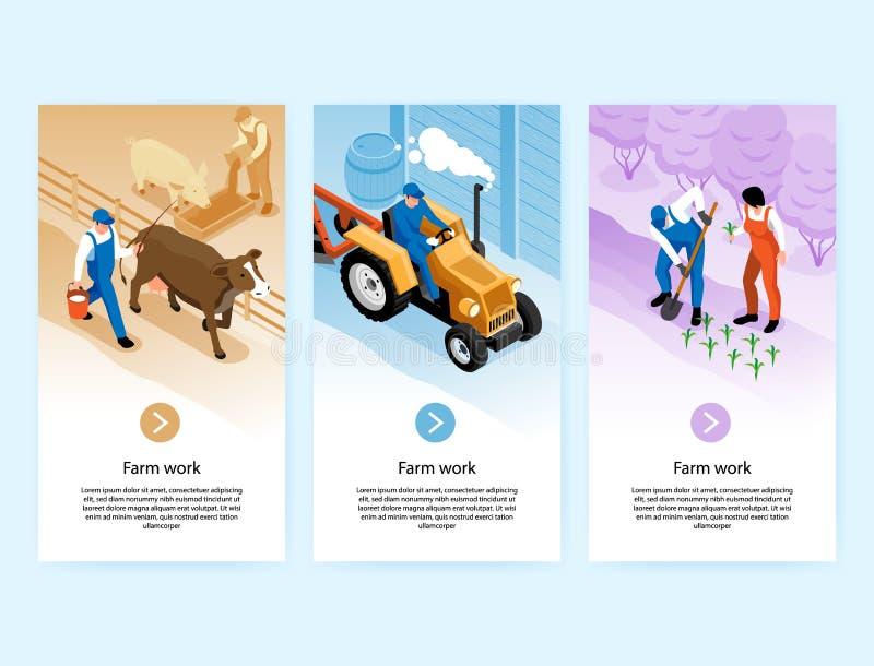 Farm Work Isometric Banners royalty free illustration