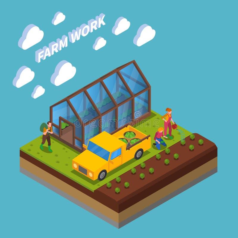 Farm Work Isometric Composition royalty free illustration