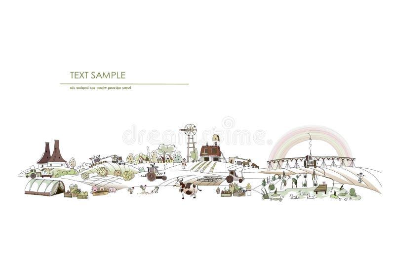 Farm yard illustrating, growing organic food stock illustration
