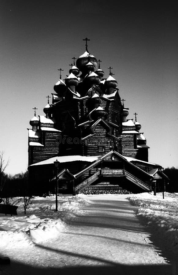 Farma Bogoslovka Ortodoksalny kościół intercesja, budujący drewno obrazy stock