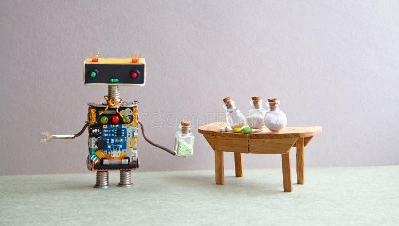 Farmacéutico amistoso del médico del robot que prueba píldoras y los antibióticos modernos en las botellas de cristal Juguete cre imagen de archivo libre de regalías