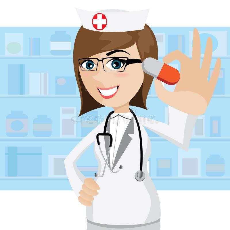 Farmacéutico de la historieta que muestra píldoras en farmacia libre illustration