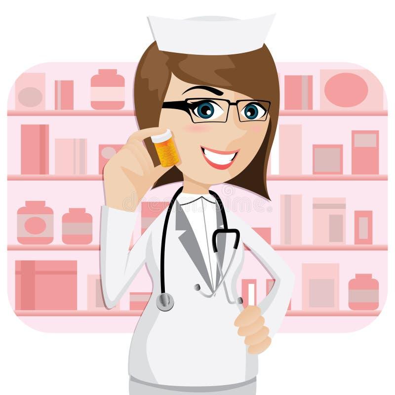 Farmacéutico de la muchacha de la historieta que muestra la botella de la medicina ilustración del vector