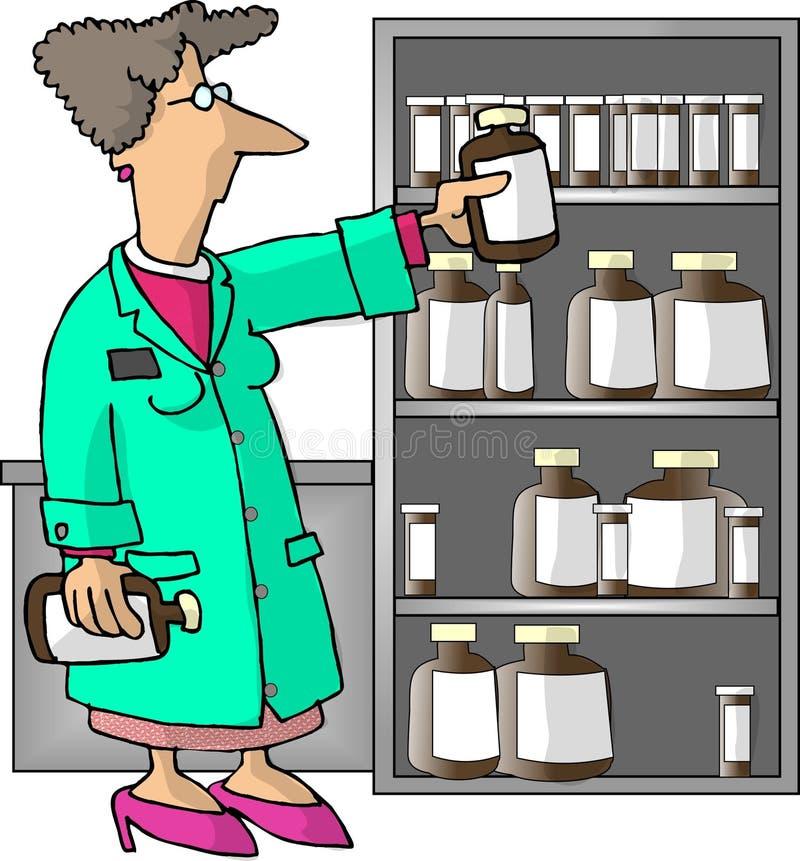 Farmacéutico de sexo femenino stock de ilustración