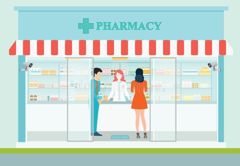 Farmacéutico de sexo femenino en el contador en una farmacia libre illustration
