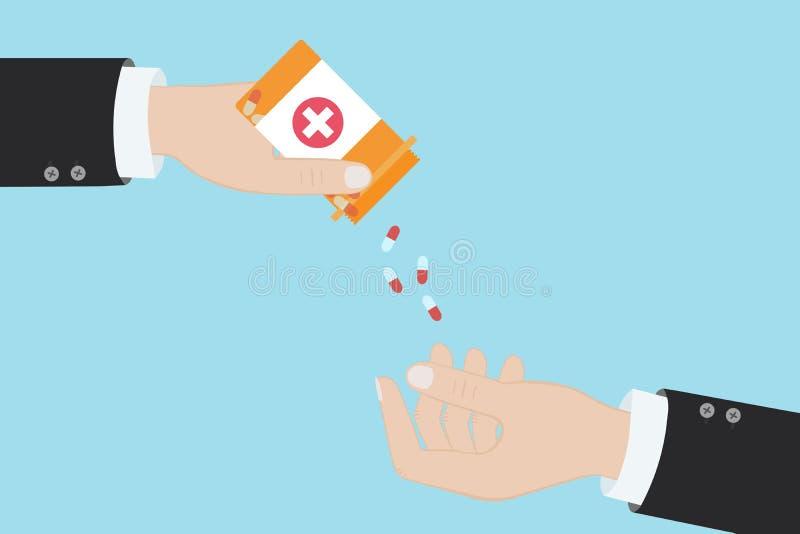 Farmacéutico que da a píldoras de la medicina al paciente otra mano, ejemplo del vector en estilo plano stock de ilustración