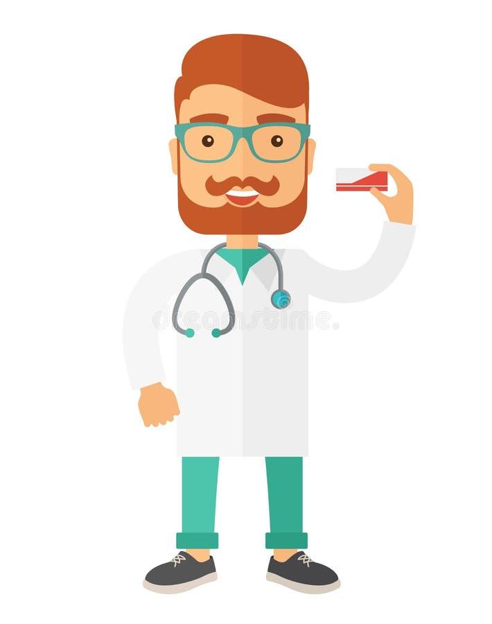 Farmacéutico que lleva a cabo una medicina stock de ilustración