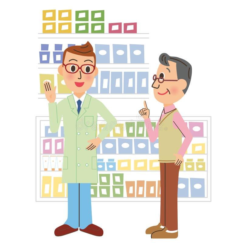 Farmacéutico y visitante stock de ilustración