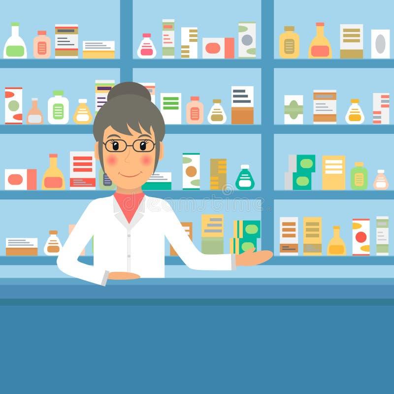 Farmacêutico da drograria no contador ilustração royalty free