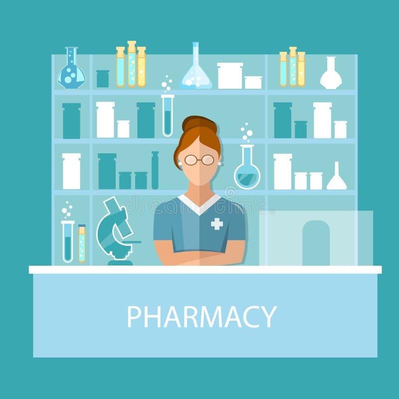 Farmacêutico da farmácia que está na drograria que vende comprimidos ilustração stock