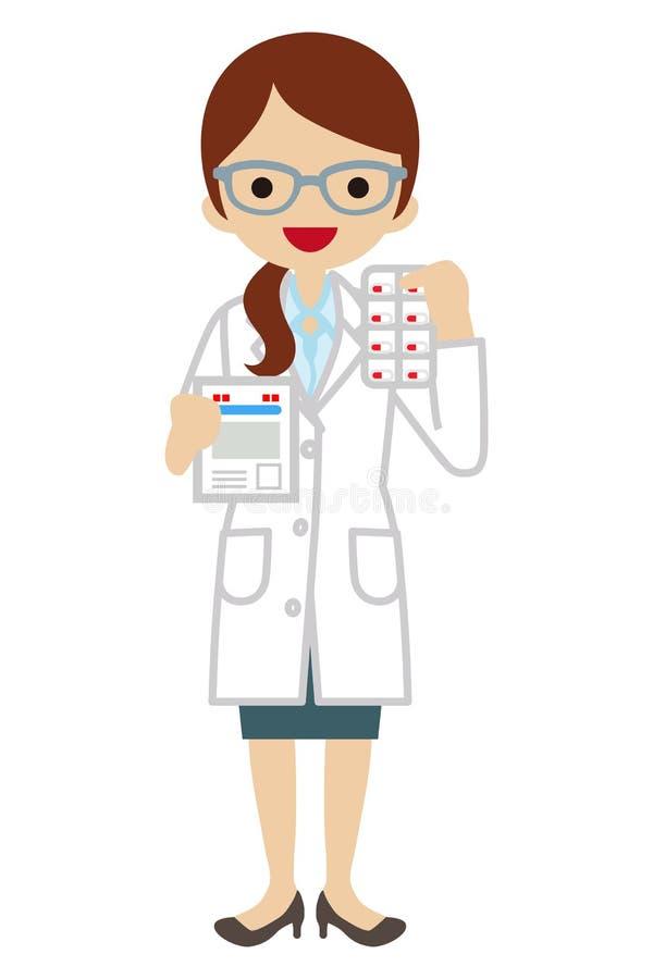 Farmacêutico das fêmeas ilustração royalty free