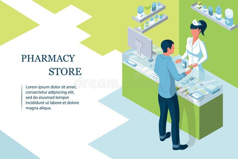 Farmacêutico do doutor na farmácia ilustração do vetor