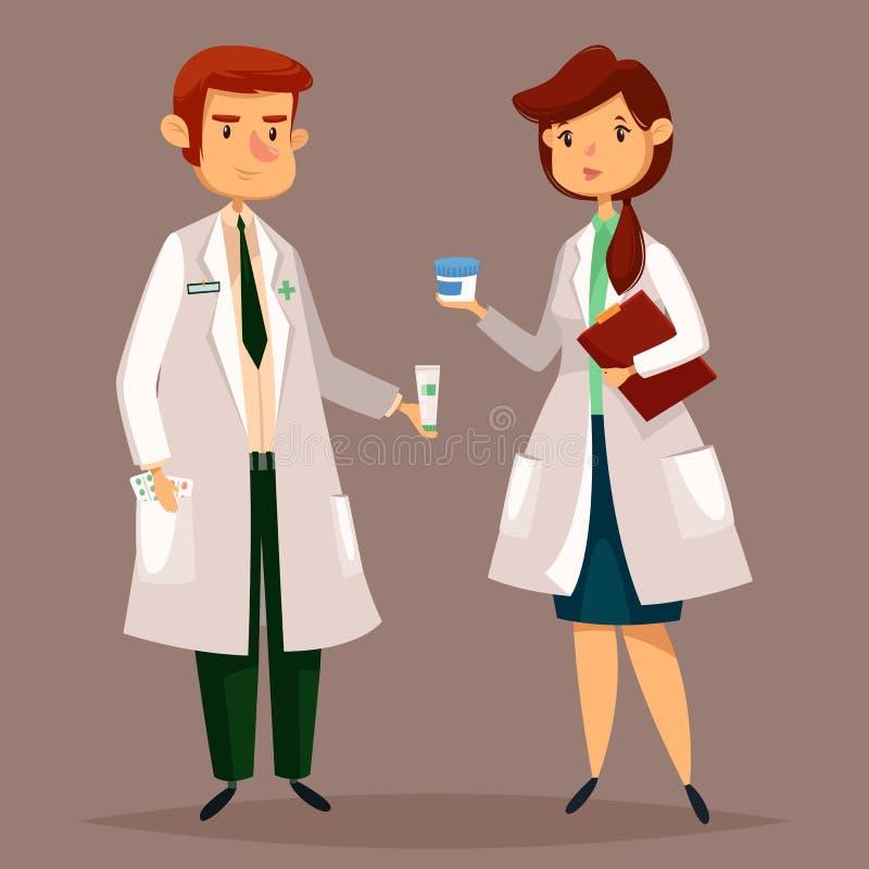 Farmacêutico do farmacêutico e da mulher com comprimidos, tabuletas ilustração stock