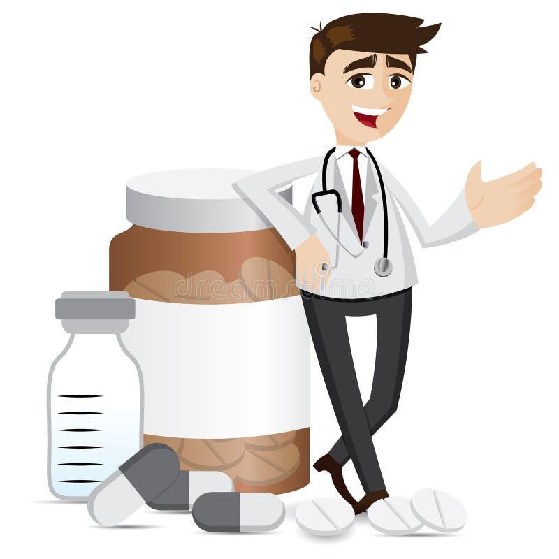 Farmacêutico dos desenhos animados com comprimidos e garrafa da medicina ilustração royalty free