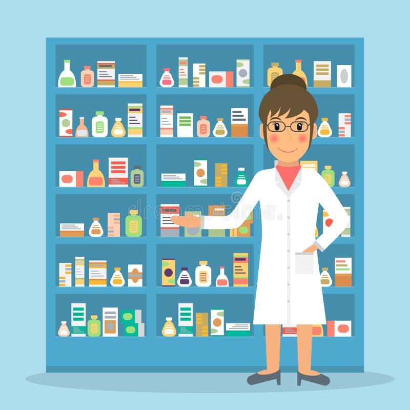 Farmacêutico fêmea na drograria ilustração do vetor