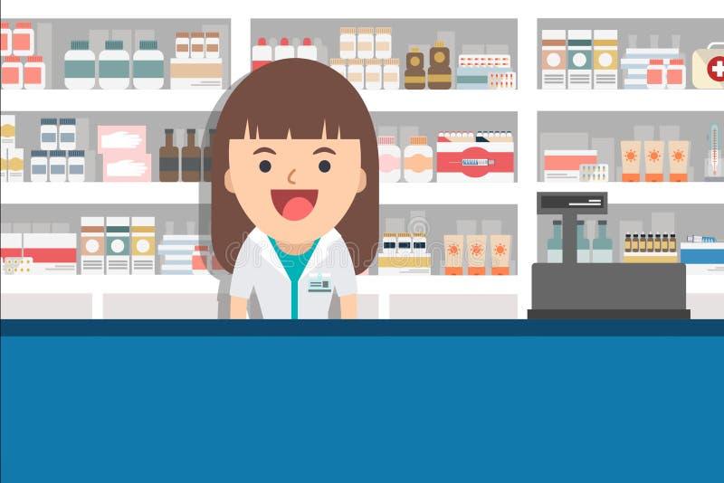 Farmacêutico fêmea no contador em uma farmácia ilustração stock