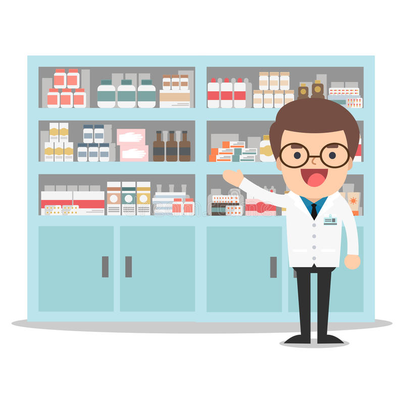 Farmacêutico masculino em uma farmácia oposto às prateleiras ilustração stock