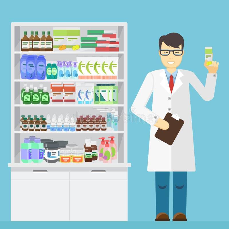Farmacêutico masculino que realiza nas mãos da medicamentação em uma farmácia perto das prateleiras com medicamentações ilustração stock