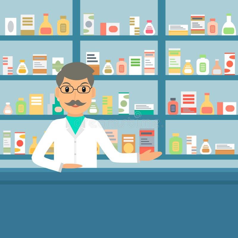 Farmacêutico na drograria ilustração royalty free