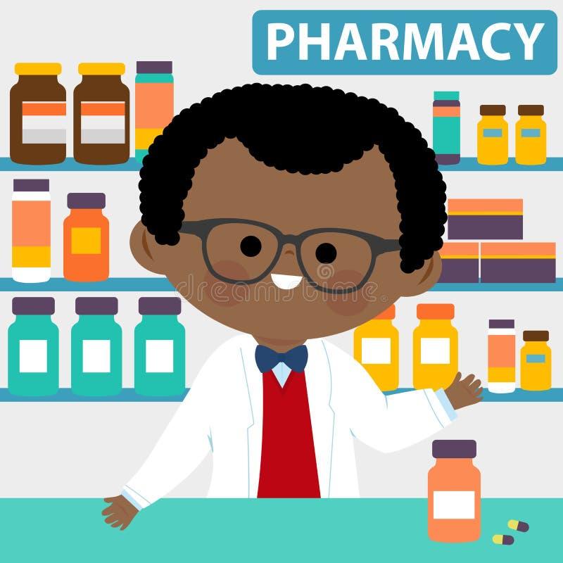 Farmacêutico no contador em uma farmácia ilustração royalty free