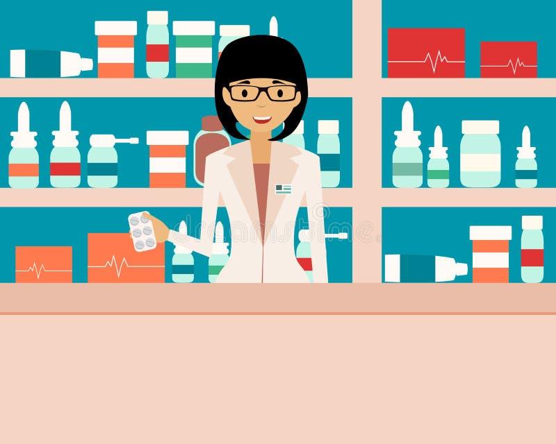 Farmacêutico que está em uma drograria ilustração royalty free