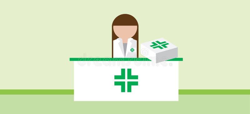 Farmaceut står framför ett skrivbord med läkemedel stock illustrationer