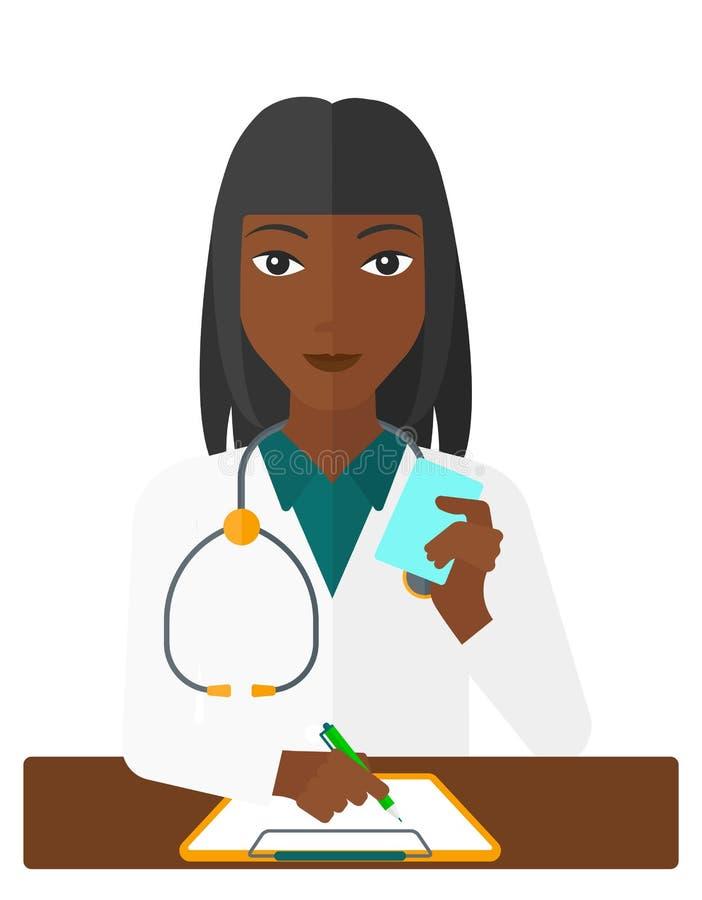 Farmaceuta bierze notatki royalty ilustracja