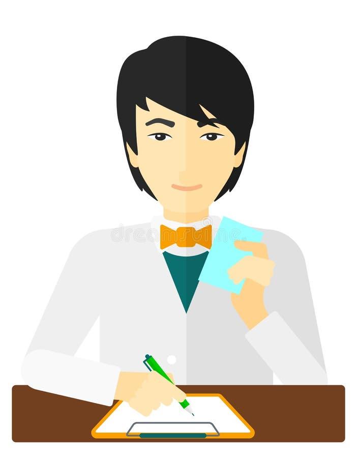 Farmaceuta bierze notatki ilustracji