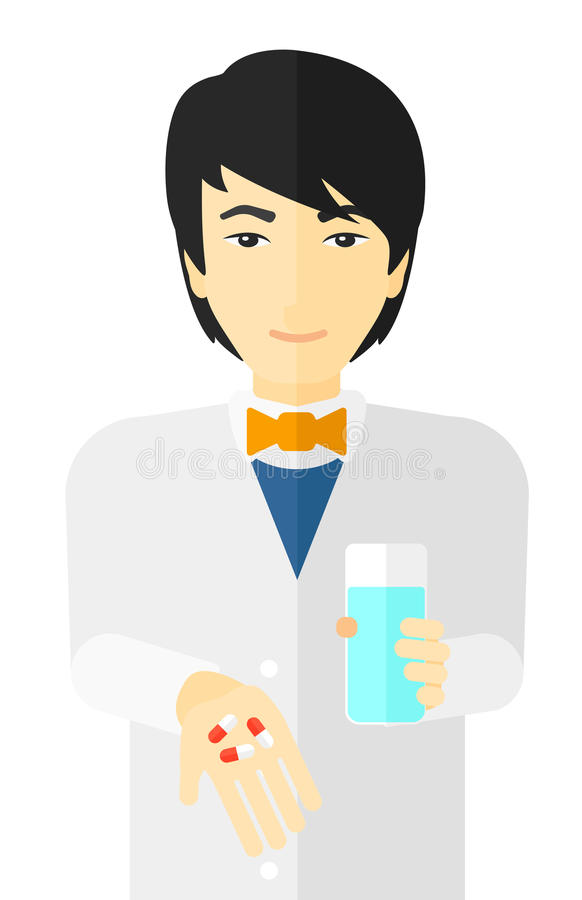 Farmaceuta daje pigułkom ilustracja wektor